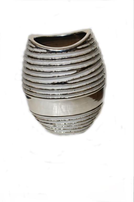 Silver Oval Ribbed Vase