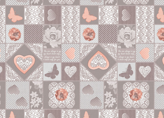 Tablecloth Peach Hearts