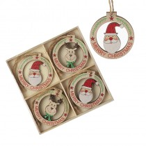 WOODEN MERRY CHRISTMAS BAUBLE PACK