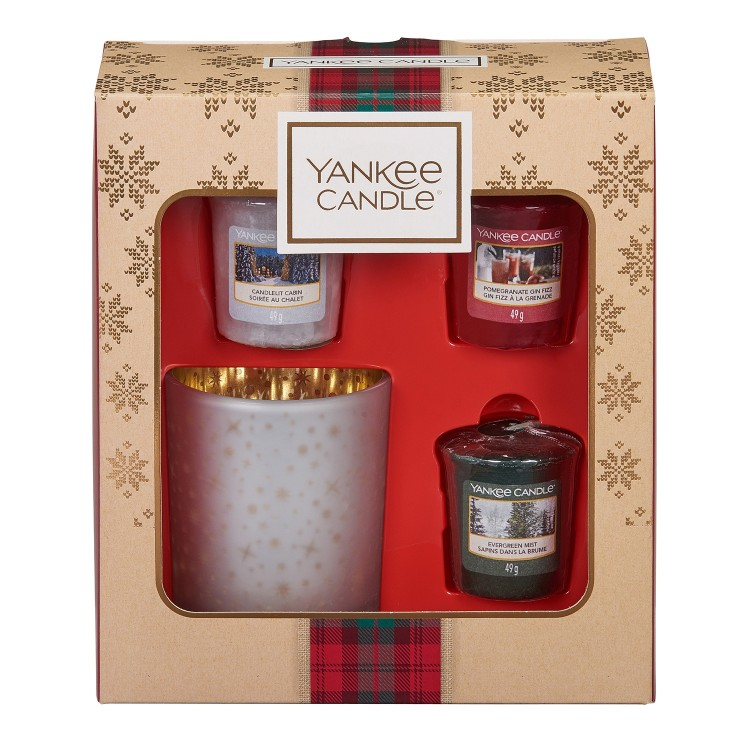 Yankee Candle 3 Votive Candle and Holder Christmas Gift Set